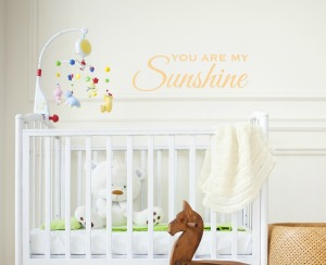 Empty nursery room with basket toys and wooden horse